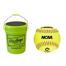 Rawlings 6 Gallon Bucket W/24 Worth NC11BB FP Softballs