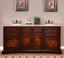 "72"" Lavatory Travertine Stone Top Double Sink Bath Cabinet Bathroom Vanity 716T"