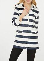 Dorothy Perkins Petite NEW Navy White Striped PU Hooded Rain Coat Mac Size 4-18