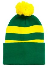 Green and Yellow Traditional Style Bobble Hat - Norwich Colours - Made in the UK