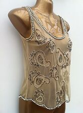 ATMOSPHERE Nude Bead Embellished Sheer Top Fits UK 8 (Label States Size 10)