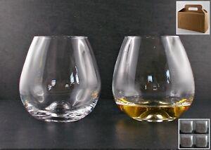 Geschenk 2 Amy Gläser + 4 Kühlsteine Speckstein Whisky Rum Cognac Glas Tumbler