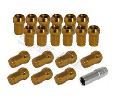 JDM M12X1.5MM STEEL (QTY) 20 PIECE CLOSE END ACORN TUNER WHEEL LUG NUTS+KEY GOLD