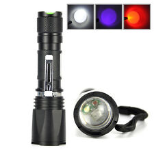 Zoomable Hunting Flashlight XPE LED Fishing Torch Lamp 3Mode Red /White/UV Light