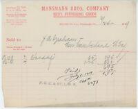 1919 Mansmann Brothers Billhead Pittsburgh PA Men's Furnishing Goods