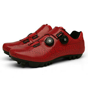 Self-Locking MTB Mens SPD Cycling Shoes Mountain Road Bike Bicycle Sneakers Red