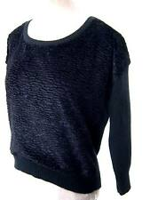 FCUK French Connection Black Crushed Velvet angora Jumper Sweater Pull Over M L