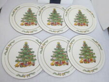 6 Vintage Pimpernel Round White Christmas Placemats Acrylic Cork Backed  England