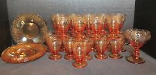 Vintage Amber Etched Depression 26 Pieces Amazing Collection