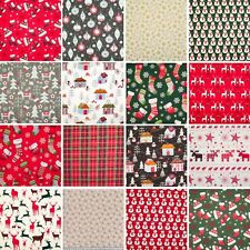100% Cotton Christmas Fabric Material Reindeer Star Santa Snowflake Fat Quarter