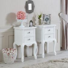 Pair of ornate white bedside lamp tables set vintage French bedroom furniture