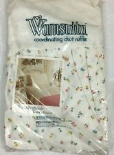"""Vintage Wamsutta """"Country Flowers"""" King Size Dust Ruffle Nos"""