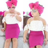 Kids Baby Girls Off shoulder Lace Tops T shirt+Skirts headband 3pcs Outfits Set