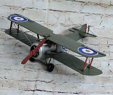 Vintage Bi-Plane METAL Tin Single Engine AIRPLANE Jayland Bi-Wing Sculpture Art