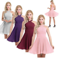 Women's Chiffon Bridesmaid Evening Cocktail Wedding Gown Party Prom Short Dress