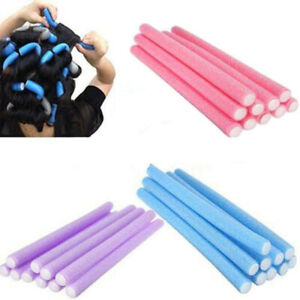 10 Bendy Foam Hair Rollers Long Curlers Soft Twists Curls Waves Styling Tools