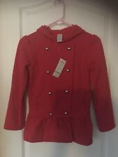 NWT Gymboree Girls Red Button up Hoodie Jacket. Sz M (7-8)