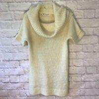 New Cozy ZARA KNIT White Cream Ivory Sweater Tunic Top Cowl Neck Women's Medium