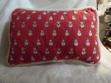 1980s Vintage Tapestry Christmas Xmas Throw Pillow Tiny Snowmen & Ladies Scarves