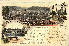 STUTTGART Litho-AK 1897 color Mehrbildkarte gelaufen n/ Auerbach Ankunftsstempel