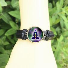 Meditation and Yoga Chakra Bangle 20 mm Glass Cabochon Leather Charm Bracelet
