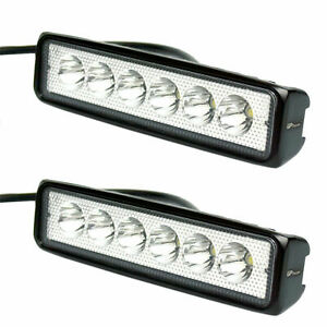 2X 6 inches Off Road 18W LED Fog DRL Lamp Work Light Bar 12V SUV