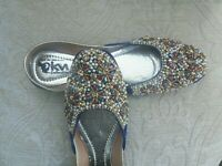 BLUE VELVET     LADIES INDIAN WEDDING  KHUSSA SHOE SIZE 6