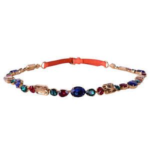 DOLCE & GABBANA RUNWAY Crystal Chain Lizard Belt for Dress Orange Gold 07110