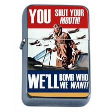 Windproof Refillable Flip Top Oil Lighter Propaganda D17 Political War Poster