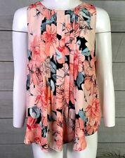 Ann Taylor Women's Pink Floral Sleeveless Blouse Key Hole Back Size Large