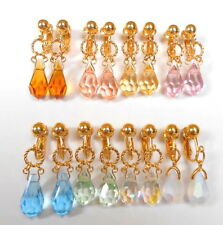 Pear Crystal Glass Costume Earrings