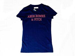 """T-SHIRT MANICHE CORTE DONNA """"ABERCROMBIE AND FITCH"""" TG. XS BLU FUCSIA ORIGINALE"""