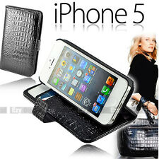 Premium BLACK Snake Stand Wallet Leather Case Cover For New iPhone 5 5S + Film