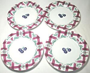Princess House:ORCHARD MEDLEY: Plaid: Set of 4 Salad Plates: VGC: NR