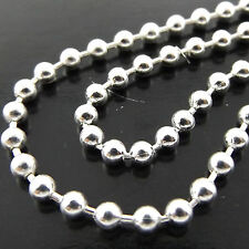 239 GENUINE REAL 925 STERLING SILVER S/F LADIES ANTIQUE BEAD BALL NECKLACE CHAIN