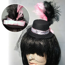Black Gothic Steampunk Vintage Mini Top Hat Pink Feathers Veil Halloween Costume