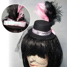 Black Gothic Steampunk Vintage Mini Top Hat Pink Feathers Veil Halloween Costume