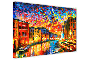 AT54378D VENICE GRAND CANAL BY LEONID AFREMOV CANVAS WALL PICTURE ART PRINT CITY