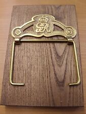 G. V. R. (George 5th) Brass Loo Roll Holder on Oak Back Plate
