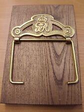 G. V. R. (George 5th) Brass Loo Roll Holder on Oak Back Plate