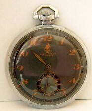 "VINTAGE RARE SWISS MILITARY""BISCHOFF AERO ANKER""OPEN FACE MEN'S POCKET WATCH # 9"