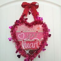 VALENTINES DAY WALL DOOR Decor Wreath Follow Your Heart Ombre Pink w Glitter Bow