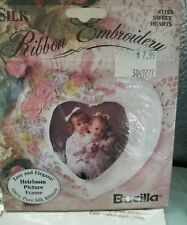 Bucilla Ribbon Embroidery Heirloom Picture Frame SILK Heart Needlework Easy NEW
