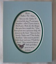 Thank You FATHER IN LAW (frm Son In Law)  Dad GRACIOUS MAN verses poems plaques