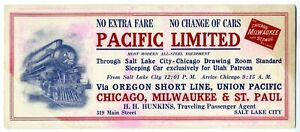 PACIFIC LIMITED Chicago Milwaukee & St. Paul Railroad Blotter - ca. 1910
