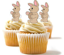 ✿ 24 Edible Rice Paper Cup Cake Toppings, Cake decs - Bunnies easter birthday ✿