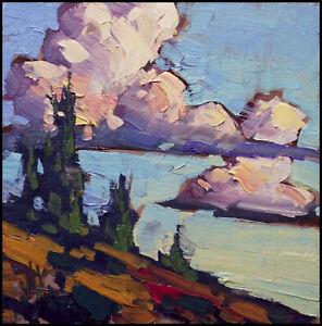 HAWKINS Craftsman Clouds Western Landscape Impressionism Oil Painting Art Signed