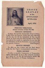 1952 LEAGUE LEAFLET Apostleship Prayer CATHOLIC CHURCH Calendar PRAYERS Holy