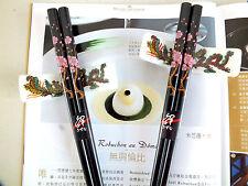2 giapponese rosa Cherry Blossom nero le bacchette W 2 CON SUPPORTO IN CERAMICA CINESE FESTA