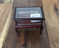 VTG Dollhouse Miniature Furniture Cabinet Display Jewelry Case w/necklace Wooden